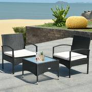 Costway 3 PCS Furniture Set Table & 2 Chair Patio Wicker Rattan W/Cushion