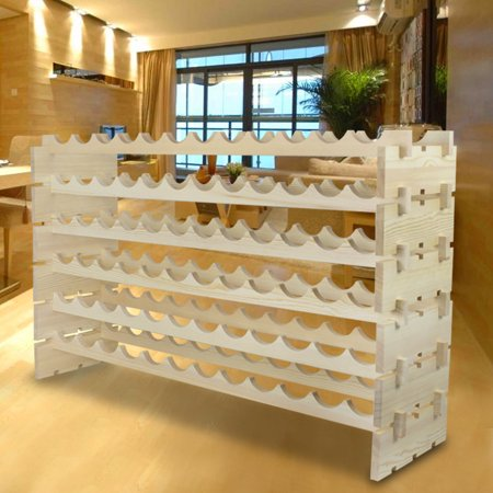 Zeny 6 Tiers 72 Bottles Solid Wood Wine Rack Display Freestanding Shelves Wine Cellar