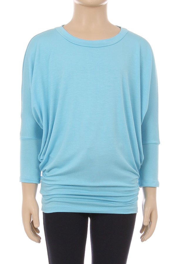 Children's Trendy Style Dolman Sleeves Solid Knit Top