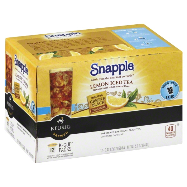 Snapple Lemon Iced Tea K-Cup Packs, 0.42 oz, 12 ct