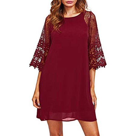 LELINTA Women's Casual Crewneck Half Sleeve Summer Chiffon Tunic Dress Lace Prom Party Shift Dress Wine Red/ Green/ Black/ White, M-XXL
