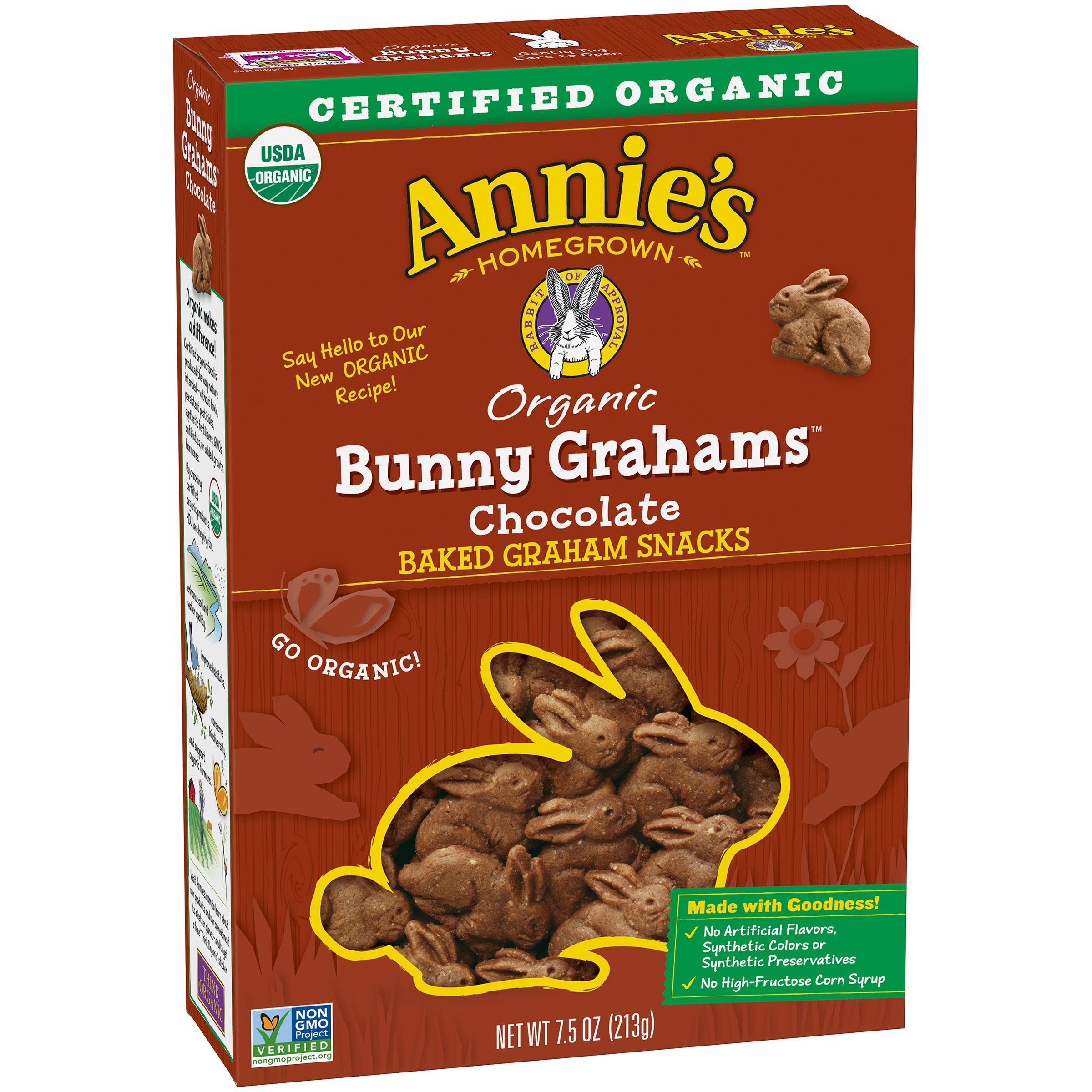 Annie's Organic Chocolate Whole Grain Graham Snacks Bunny Grahams 7.5 oz
