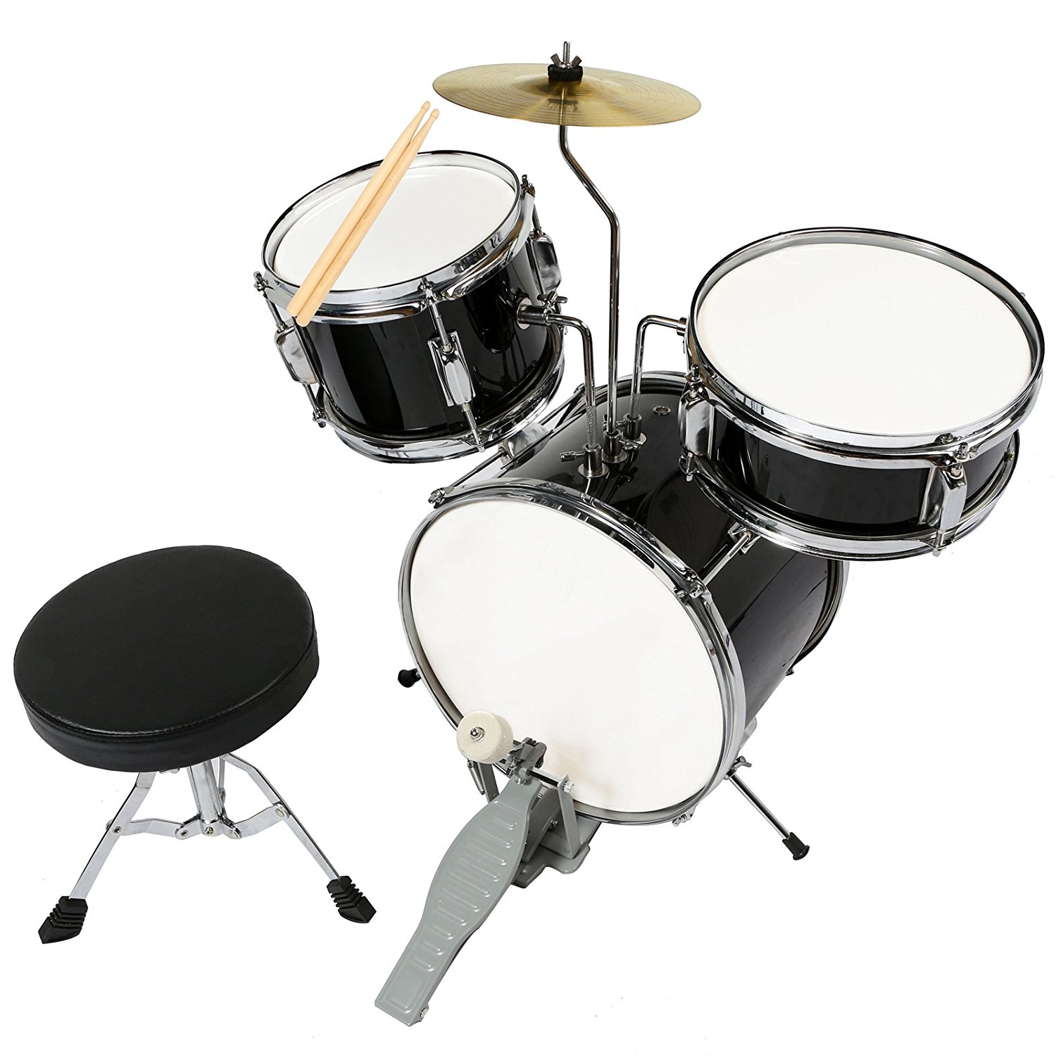 "13"" 3 Piece Complete Junior Drum Set Cymbal Child Kids Kit w  Stool Sticks Black by Uenjoy"