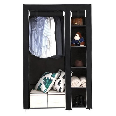 """Ktaxon 67"""" Portable Clothes Closet Wardrobe with Non-woven Fabric and Hanging Rod Black"""