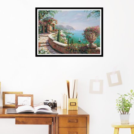 DIY 5D Diamond Painting Seaside Scenery Rhinestone Cross Stitch Kit Home Wall Decor