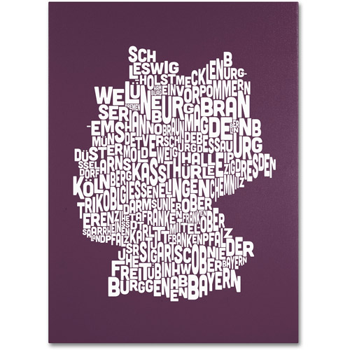 Trademark Art 'MULBERRY-Germany Regions Map' Canvas Art by Michael Tompsett