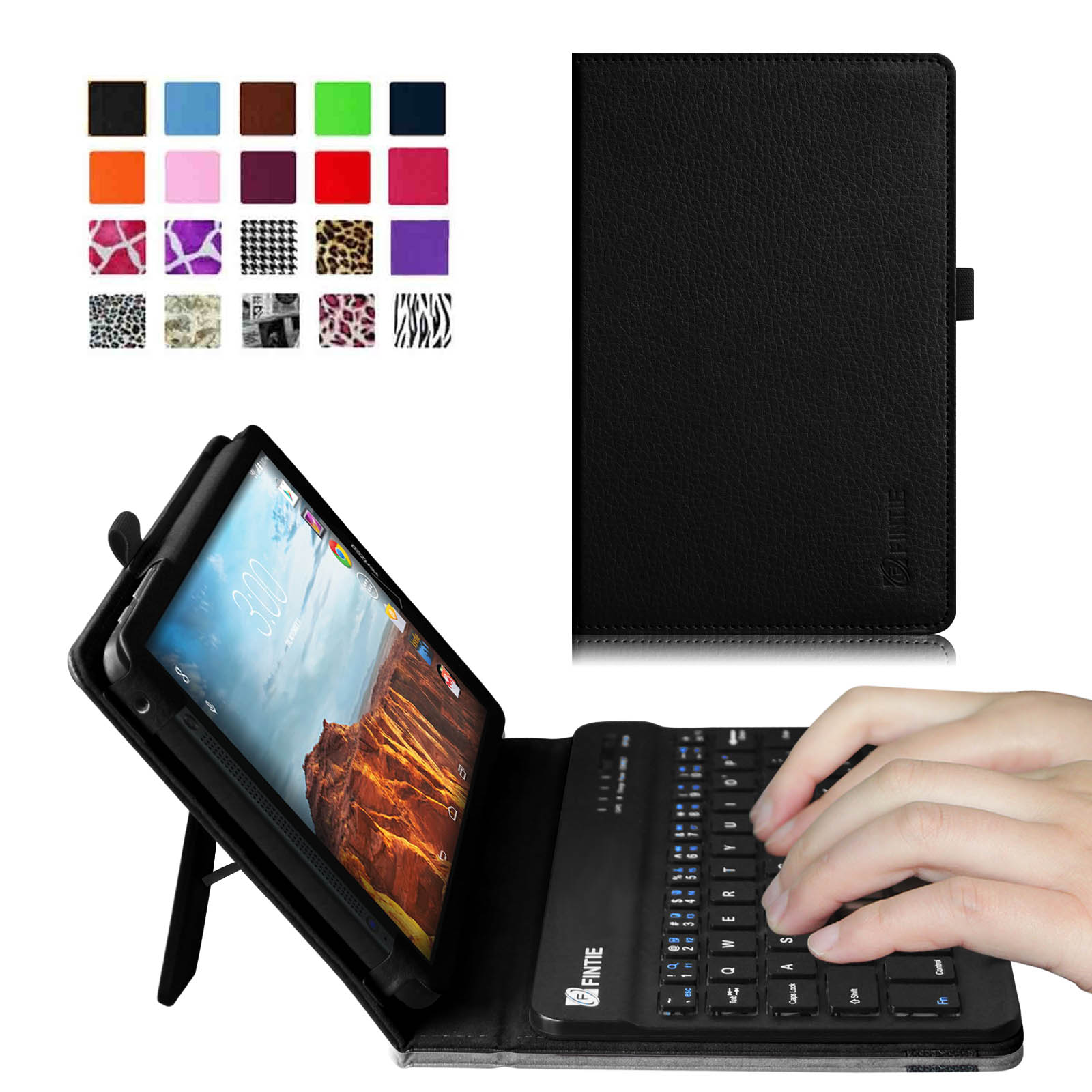 Verizon Ellipsis 8 4G LTE Tablet Keyboard Case - Fintie Slim Fit PU Leather Stand Cover with Removable Keyboard, Black
