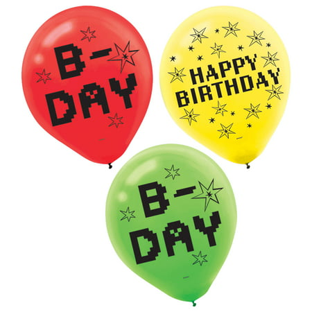 Video Gamer Birthday Latex Balloons, Red, Yellow, & Green, 12in, 6ct