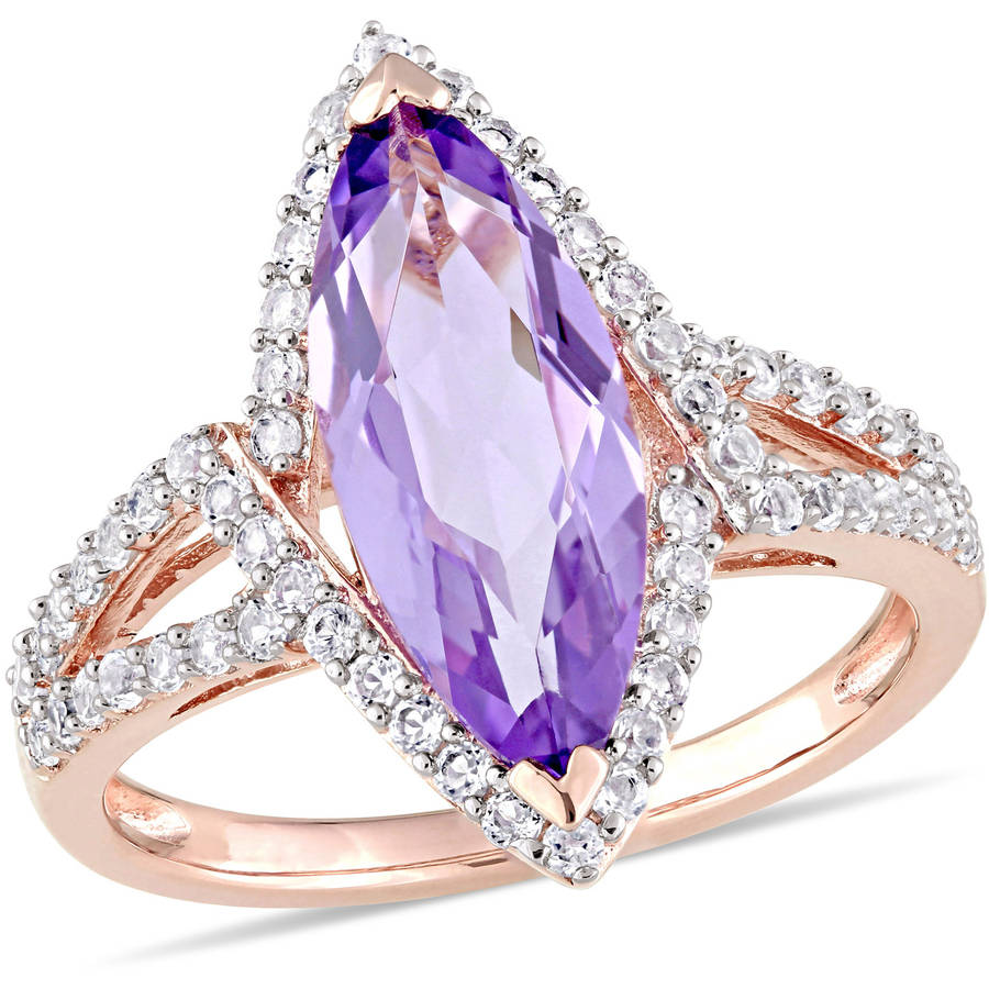 Tangelo 3-3 4 Carat T.G.W. Amethyst and White Topaz Pink Rhodium-Plated Sterling Silver Halo Ring by Tangelo