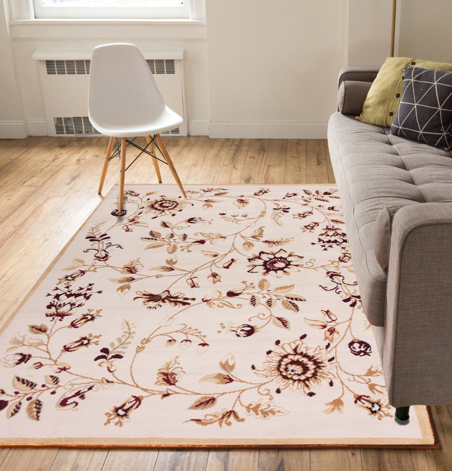 """Well Woven Flowers Ivory and Beige 3'3"""" x 5' Area Rug Carpet"""