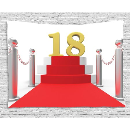 18th Birthday Decoration Tapestry, Hollywood Greeting for a 18 Year Old Star Party Image, Wall Hanging for Bedroom Living Room Dorm Decor, 60W X 40L Inches, Red Silver and White, by Ambesonne