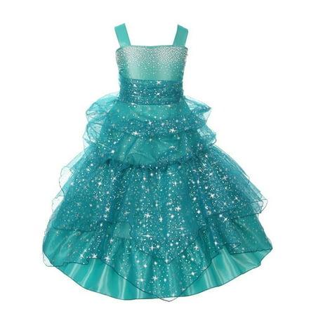 Girls Jade Rhinestone Star Organza Pick Up Junior Bridesmaid Dress - Stars Dress Up