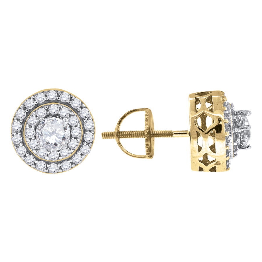 9mm x 9mm FB Jewels 925 Sterling Silver Yellow-tone Mens Cubic Zirconia CZ Round Stud Earrings