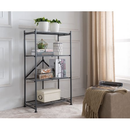 Marsden Gray Metal Transitional 4 Tier Shelf Folding Storage Bookcase Home & Office Organizer Display Unit