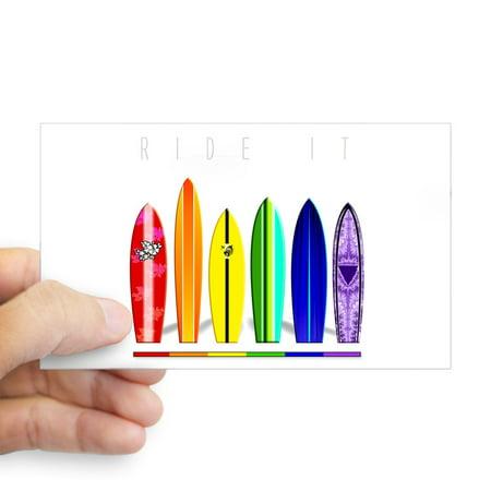 CafePress - Rainbow Surf Rectangle Sticker - Rectangle Bumper Sticker Car (Surf Car Sticker)