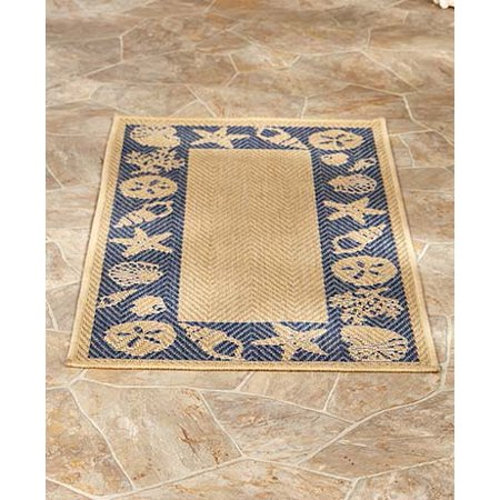 Themed Indoor Outdoor Rug Collection Seashells Accent Rug