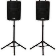 """Podium Pro PP1202A Powered 12"""" Active Speakers and Stands 1200W DJ PA PP1202ASET1"""