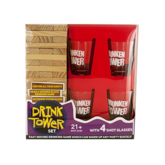 Bulk Buys GW325-3 Drink Tower Wooden Block Drinking Game, 3 Piece
