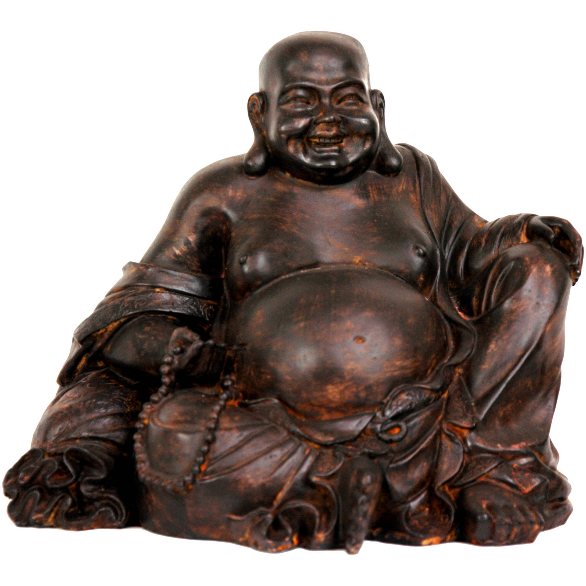 """8"""" Sitting Laughing Buddha Statue by Oriental Furniture"""