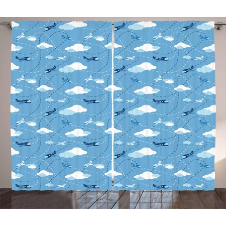 Dark Cloud 2 Halloween Theme (Nursery Airplane Curtains 2 Panels Set, Kids Boys Aviation Theme Blue Aircraft Clouds and Routes, Window Drapes for Living Room Bedroom, 108W X 63L Inches, Blue Dark Blue and White,)