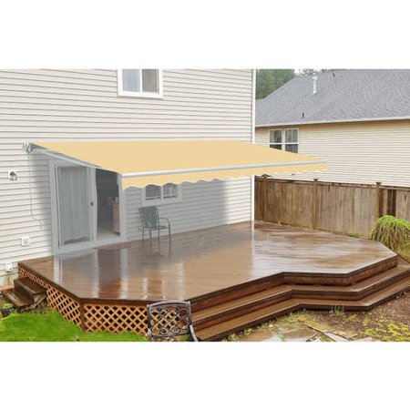 ALEKO 16'x10' Retractable Motorized Patio Awning, Ivory Color