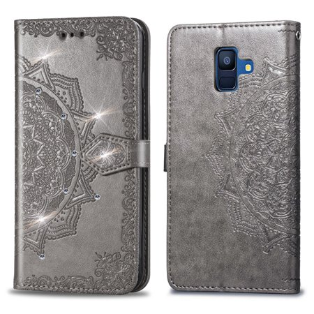 size 40 a05e4 658dd Wallet Case For Samsung Galaxy A6 (2019 release), Dteck Lightweigth  Embossed PU Leather Folio Flip Case Cover With Hand Strap,Gray