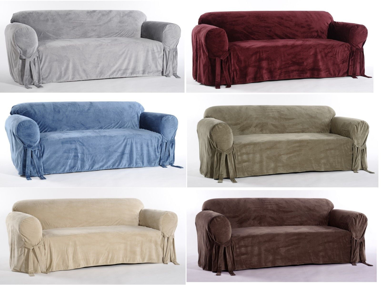 Plush Velvet Microfiber One Piece, Round Couch Slipcovers