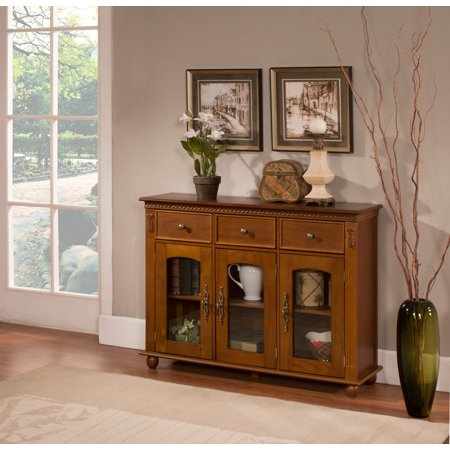 William Walnut Wood Contemporary Sideboard Buffet Console Table With Storage Drawers & Glass Cabinet Doors