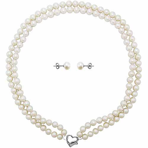"Double Row 7-8mm White Freshwater Pearl Heart-Shape Sterling Silver Clasp Necklace (18"") with Bonus Pearl Stud Earrings"