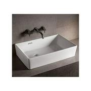 """Whitehaus WHKN1081 Isabella 31-1/2"""" Rectangular Porcelain Vessel Bathroom Sink w"""