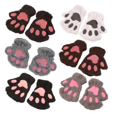 Sofe Women Winter Claw Gloves Fluffy Bear Paw Mittens Lady Half Finger Gloves - image 11 of 16