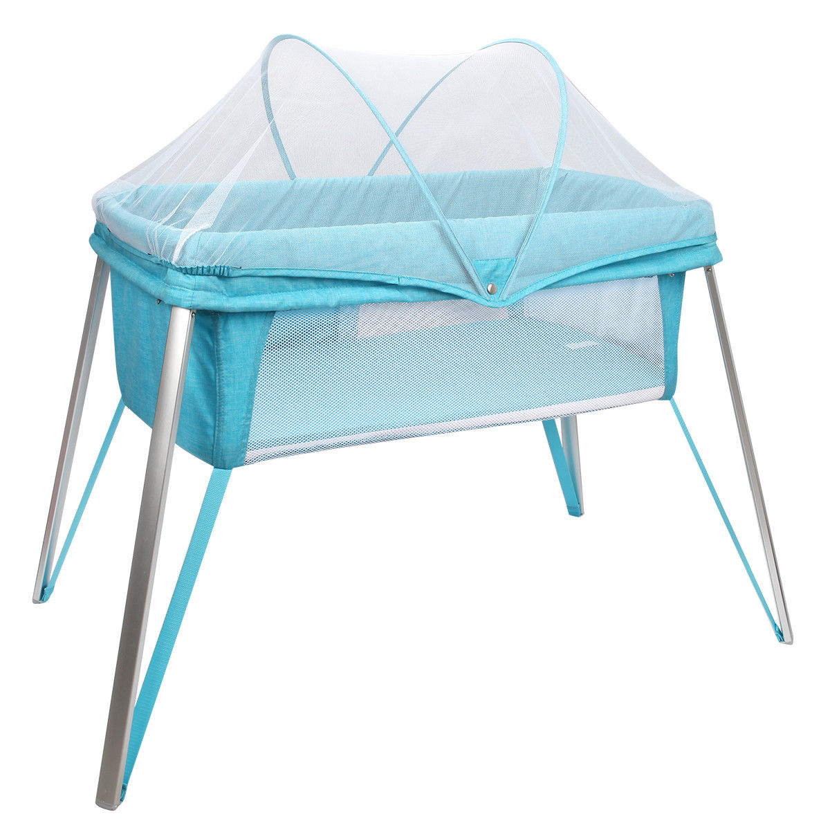 GHP 33-Lbs Capacity Blue Aluminum Alloy Legs & Oxford Fabric Cloth Baby Crib Bassinet by Globe House Products