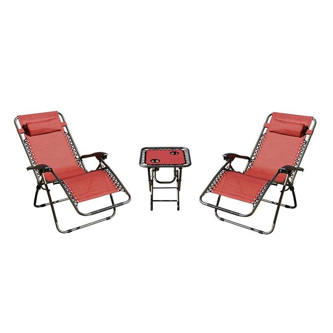 Zero Gravity Chairs & Table, Red - Set of 3