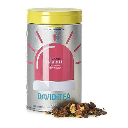 DAVIDsTEA Organic Cold 911 Relaxing Herbal Tea Iconic Tin, Loose Leaf Tea for Colds with Soothing Peppermint and Eucalyptus, 63 g / 2.2 oz