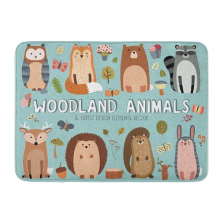 LADDKE Colorful Cartoon Cute Woodland and Forest Character Deer Doormat Floor Rug Bath Mat 23.6x15.7 inch