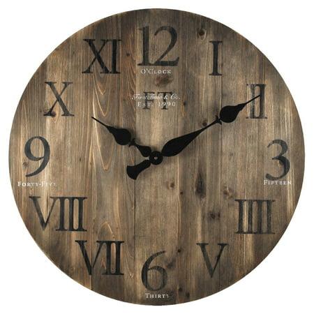 FirsTime Rustic Barn Wood 24 in. Wall Clock ()