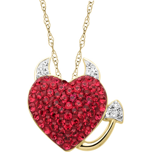 Luminesse Crystal Accent 18kt Yellow Gold over Sterling Silver Red Devil Heart Pendant, 18""