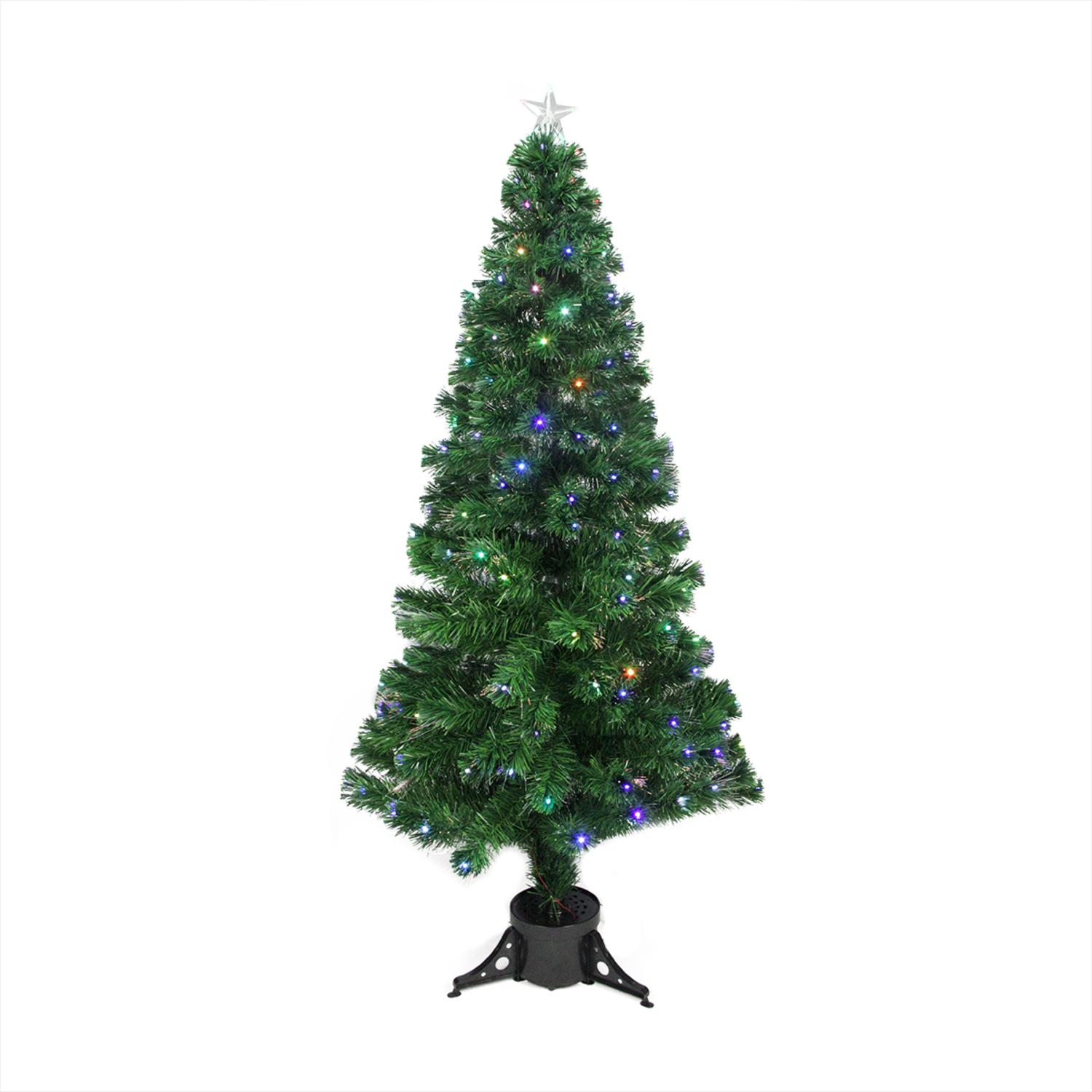 Northlight 6' Prelit Artificial Christmas Tree LED Color Changing Fiber Optic with Star Tree Topper