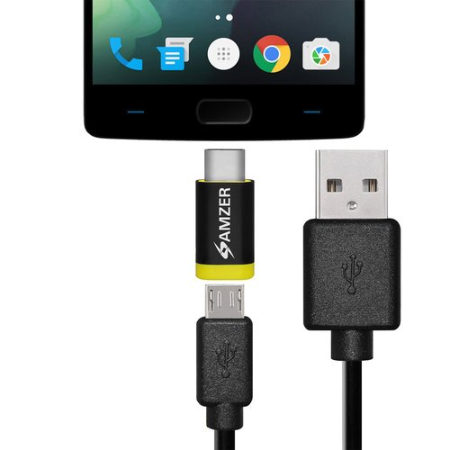 Amzer microUSB to USB Data Sync and Charge Cable 1' With Type-C Adapter
