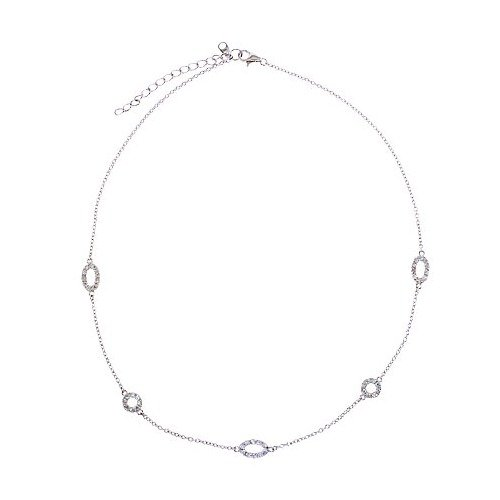 CZ Collections 36'' Aimee's Sterling Silver Diamond Necklace