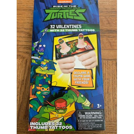 Ninja Turtles Tattoos (TMNT Valentines Day Cards 32 Count 32 Thumb)