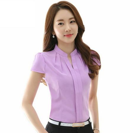 EFINNY Women's V-Neck Formal Office Lady Work Uniform Blouse