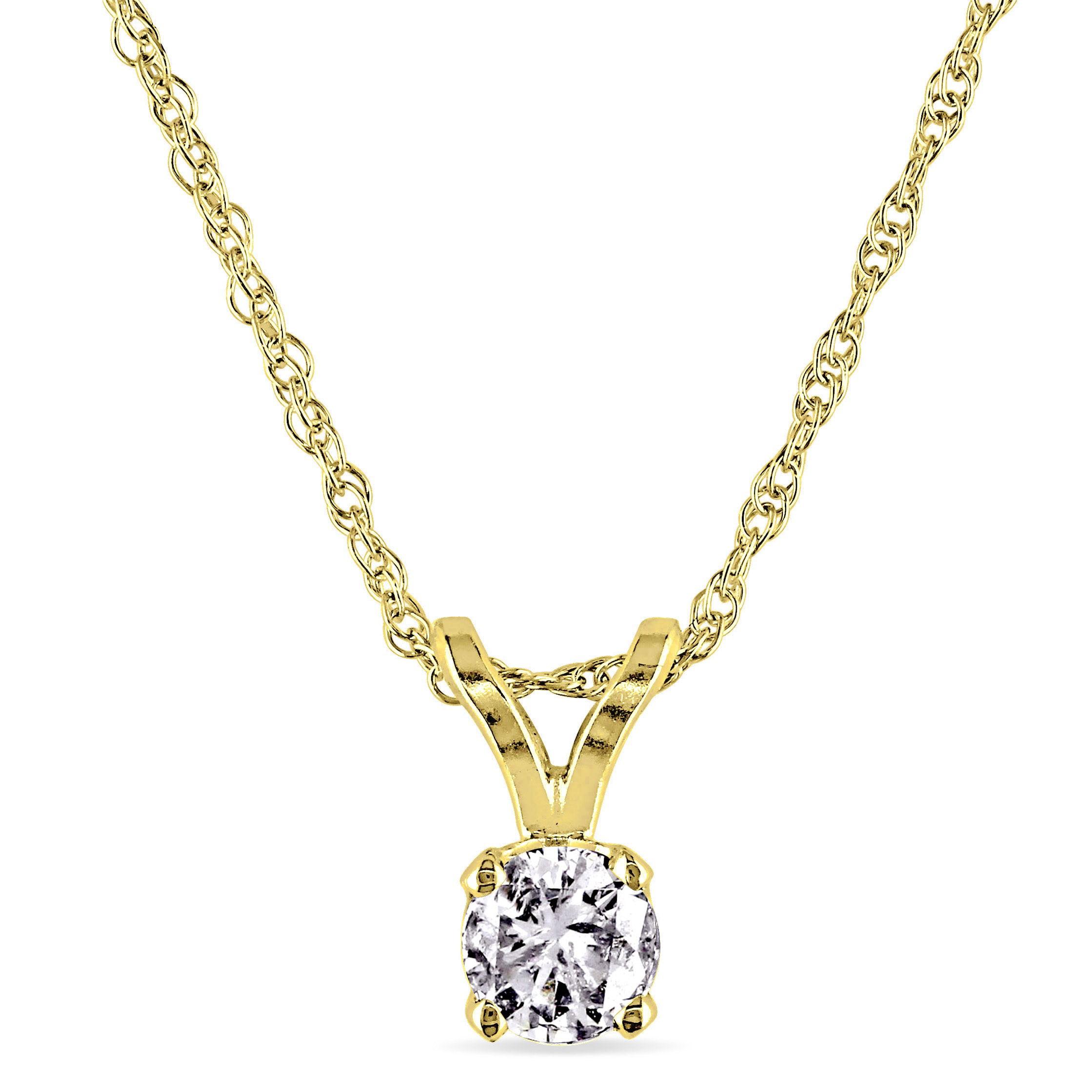 Miabella 1/6 Carat T.W. Diamond 14kt Yellow Gold Solitaire Pendant