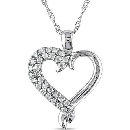 Miabella 1/4 Carat T.W. Diamond 10kt White Gold Heart Pendant, 17