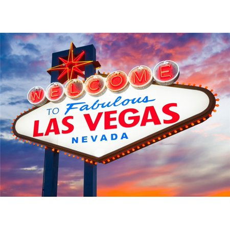 GreenDecor Polyster 5x7ft Fantasy Sky Photography Backdrops Welcome to Las Vegas Sign Background Props - Halloween Fantasy Ball Las Vegas