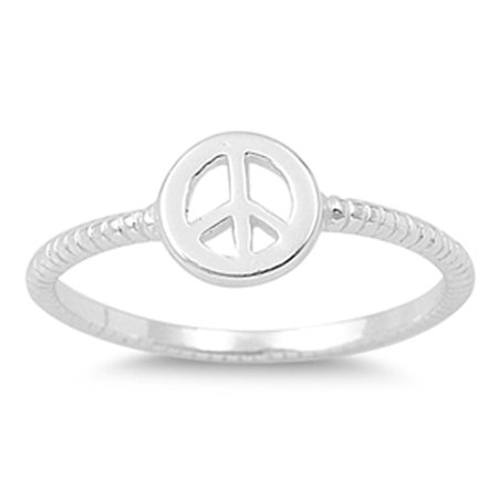 Peace Sign Love Joy Ring ( Sizes 2 3 4 5 6 7 8 9 ) New .925 Sterling Silver Rope Bali Band Rings by Sac Silver (Size 4)