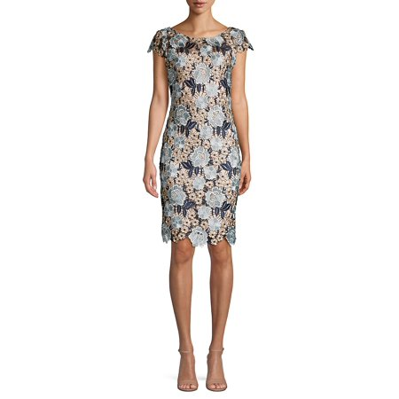 Embellished Floral Lace Sheath Dress