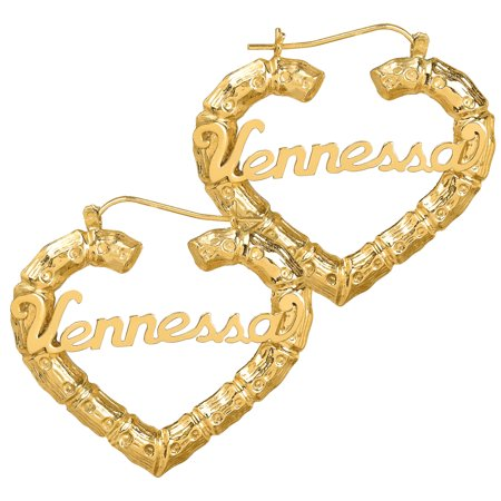 14K Gold Plated Sterling Silver or 10K Gold Personalized Bamboo Style Heart Polished Name Earrings 14k Gold Name Earrings