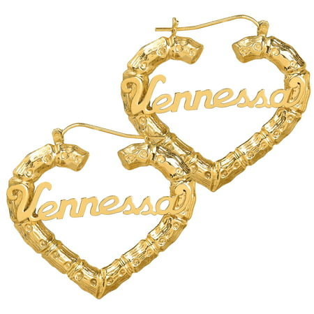 14K Gold Plated Sterling Silver or 10K Gold Personalized Bamboo Style Heart Polished Name Earrings 14k Gold Plated Labret
