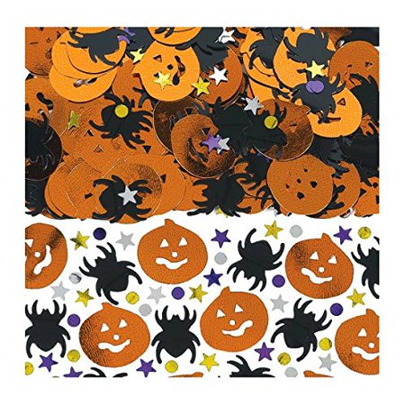 Spooktacular Halloween Party Metallic Pumpkin and Spiders Confetti Pack Decoration, Plastic, 2 Ounces, - Pumpkin Spiders